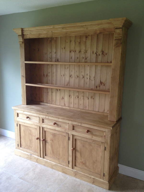 Large Open Kitchen Dresser With 3 Step Crown Reed Sides And Corbels A Rustic Waxed Finish