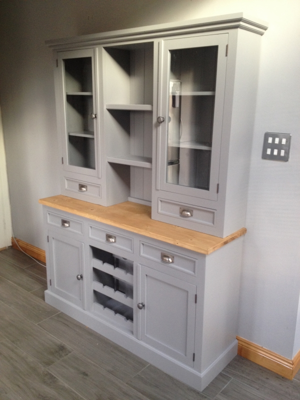 Glazed Dresser With Drawers Above A 2 Door 3 Wine Rack Painted Storm Cloud Gray
